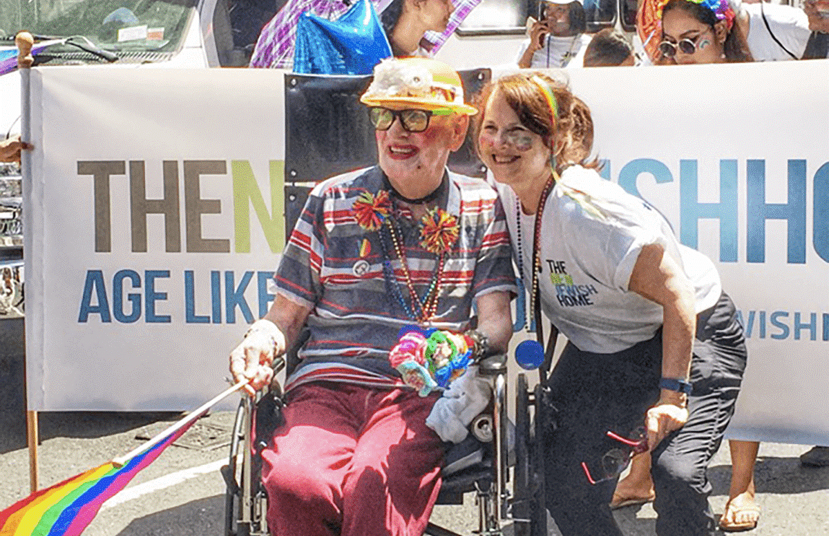 James Doyle, a resident of the New Jewish Home in New York, with CEO Audrey Weiner at the Gay Pride Parade.